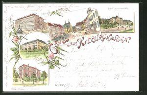 Lithographie Hildburghausen, Technikum, Schlosskaserne, Landesirrenanstalt
