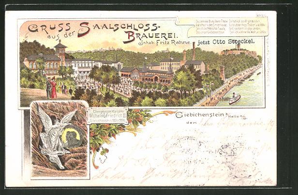 Lithographie Halle / Saale-Giebichenstein, Gasthaus zur Saalschloss-Brauerei von F. Rahne