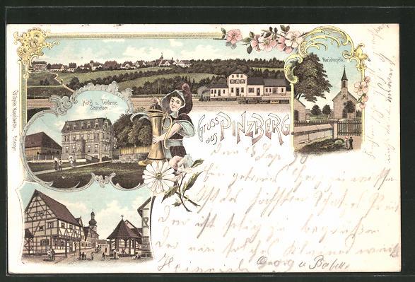 Lithographie Pinzberg, Hotel Zametzer, Mariakapelle, Bahnhof