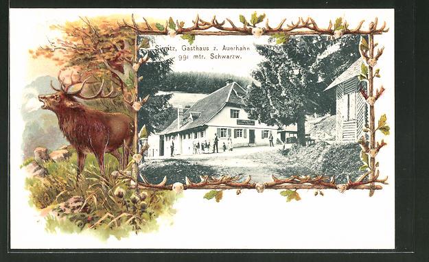 Passepartout-Lithographie Sirnitz, Partie am Gasthaus zum Auerhahn, Hirsch