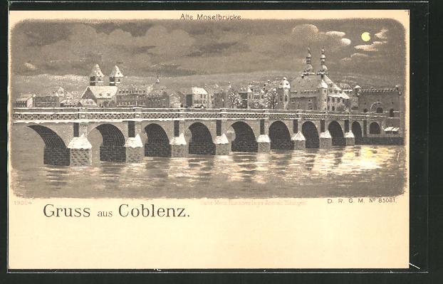 Mondschein-Winter-Lithographie Coblenz, Panoramablick über die Moselbrücke