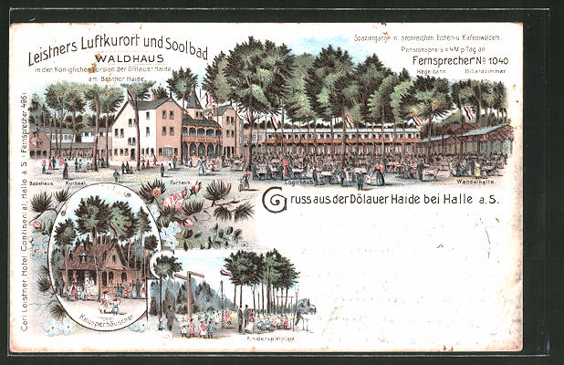 Lithographie Halle / Saale, Gasthaus