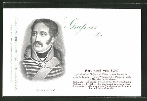 AK Porträt Ferdinand von Schill, Befreiungskriege