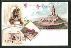 Lithographie Kyffhäuser, Denkmal, Barbarossa, Reiterstandbild