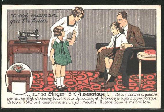 AK Cie Singer, 7 rue Monge, Paris, Singer 15 K 71 électrique, C'est maman qui l'a faite, Nähmaschine