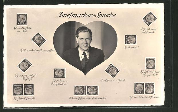 AK Briefmarkensprache, Männerporträt, Herz