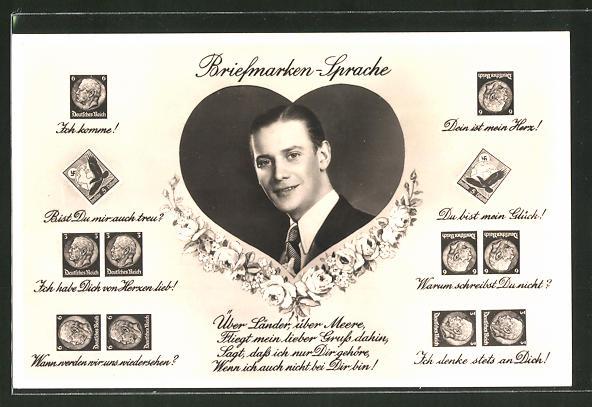 AK Briefmarkensprache, Herz, Männerporträt