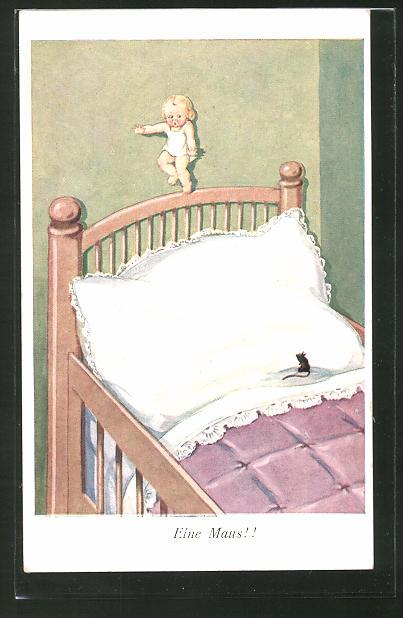 AK Kind flüchtet vor einer Maus auf das Kopfende des Bettes