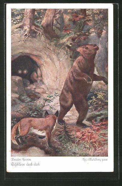 Künstler-AK Georg Mühlberg: Tischlein deck dich Nr. 6, die böse Ziege vertreibt den Bären aus der Höhle