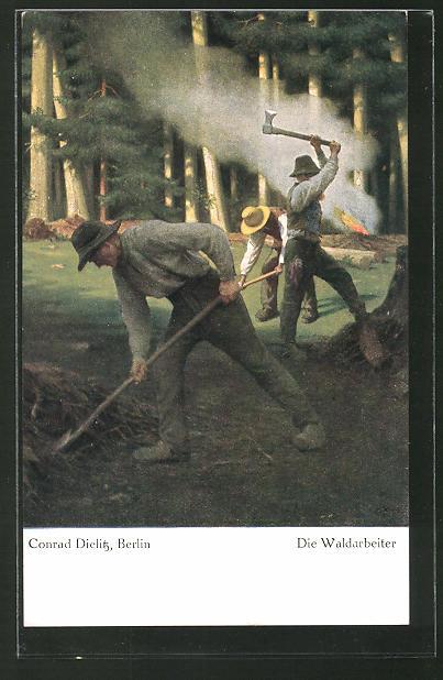 AK Die Waldarbeiter, Holzfäller