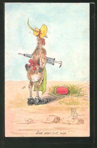 Künstler-AK Handgemalt: Henne mit Hut und Schirm bewacht ihr Ei
