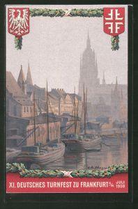 Künstler-AK Frankfurt a/M, XI. Deutsches Turnfest 1908, Wappen und Hafen