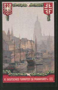Künstler-AK Frankfurt a/M, XI. Deutsches Turnfest 1908, Hafen und Wappen