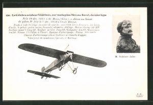 AK Aviateur Védrines sur monoplan Morane-Borel