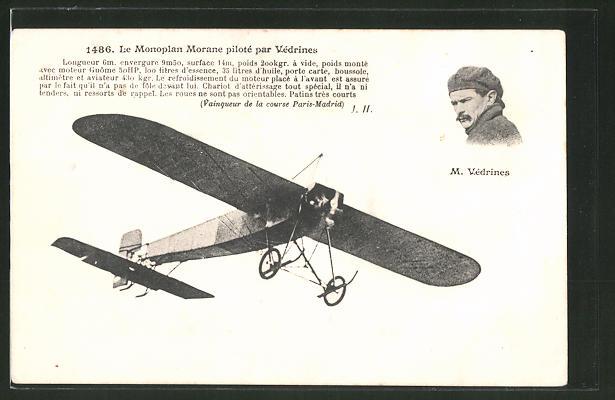 AK Le Monoplan Morane piloté par Védrines