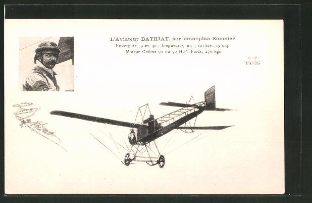 AK Aviateur Bathiat sur monoplan Sommer