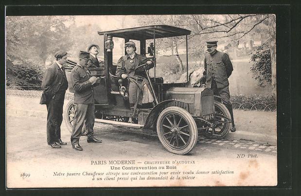 AK Paris, Chauffeuse d'Autotax, une Contravention au Bois, Frau fährt das Autotaxi
