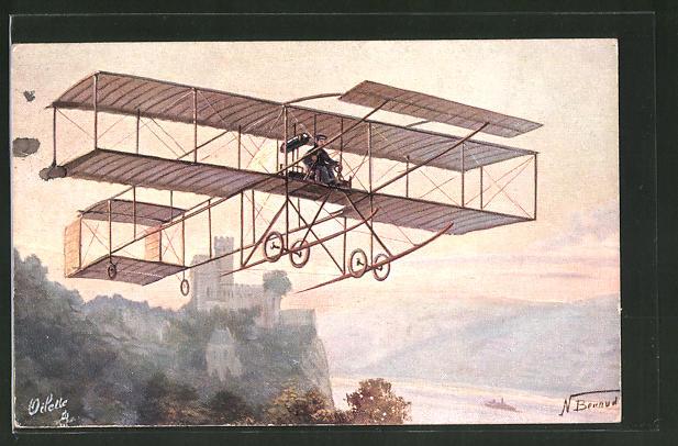 Künstler-AK Farman Aeroplane, Flugzeug am Himmel
