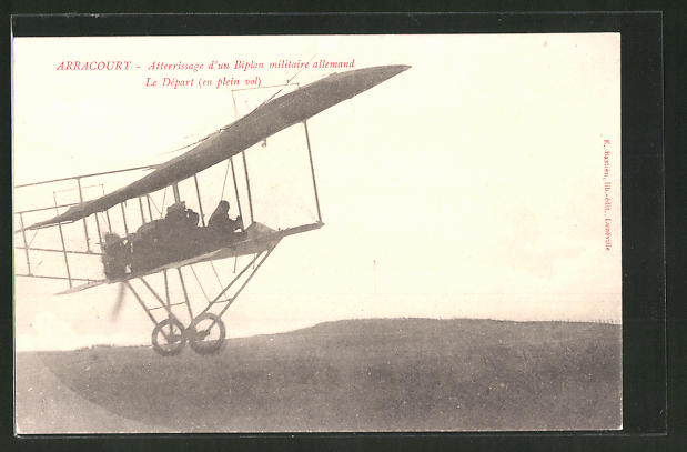 AK Arracourt, Alterrissage d'un Biplan militaire allemand, le Départ, Flugzeug