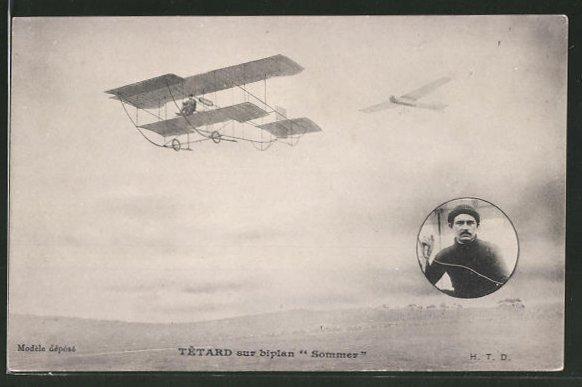 AK Tetard sur biplan