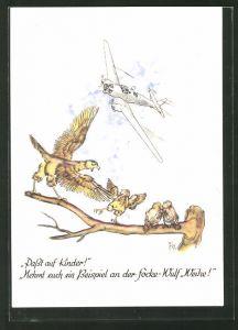Künstler-AK Passt auf Kinder! Nehmt euch ein Beispiel an der Focke-Wulf Weihe!, Fw 58 Mehrzweckflugzeug