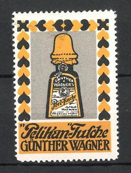 Reklamemarke Hannover & Wien, Pelikan Tusche Günther Wagner, Flasche Perl-Tusche