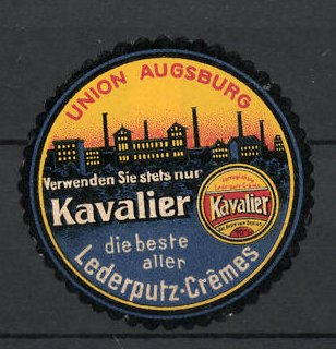 Reklamemarke Augsburg, Kavalier Lederputz-Creme Union Augsburg, Fabrikgebäude