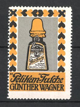 Reklamemarke Hannover & Wien, Pelikan Tusche Günther Waggner, Flasche Perl-Tusche