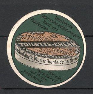 Reklamemarke Martinikenfelde, Lanolin Toilette-Cream, Lanolinfabrik