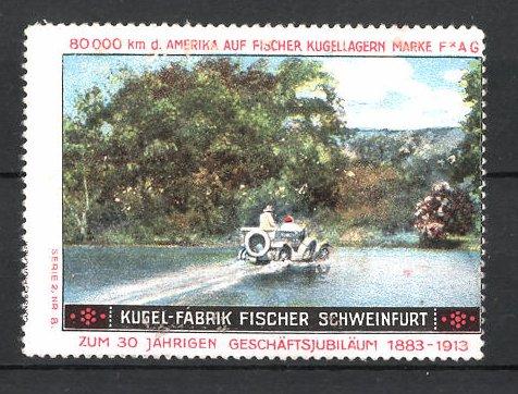 Reklamemarke Schweinfurt, Kugel-Fabrik Fischer FAG Kugellager, Fischer Auto bei Testfahrt in der USA