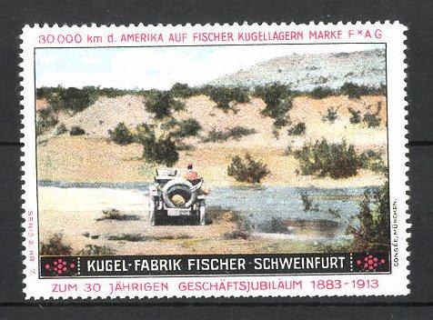 Reklamemarke Schweinfurt, Kugel-Fabrik Fischer FAG Kugellager, Fischer Auto bei 80.000 Km Testfahrt in der USA
