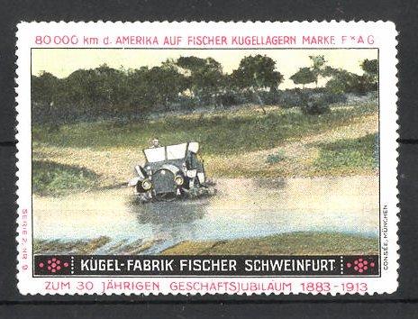 Reklamemarke Schweinfurt, Kugel-Fabrik Fischer FAG Kugellager, Fischer Auto bei Gewässerdurchfahrt in der USA