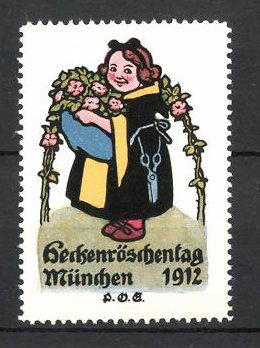 Künstler-Reklamemarke P. O. Engelhard, München, Heckenröschen-Tag 1912, Münchner Kindl mit Blumenstrauss