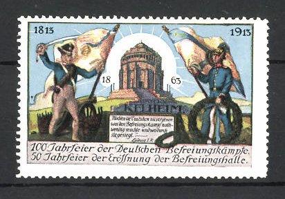 Reklamemarke Kelheim, 50 Jahrfeier zur Eröffnung der Befreiungshalle & 100 Jahrfeier der Befreiungskriege 1913, Soldaten