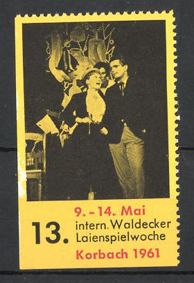 Reklamemarke Korbach, 13. Int. Waldecker Laienspielwoche 1961, Bühnenszene