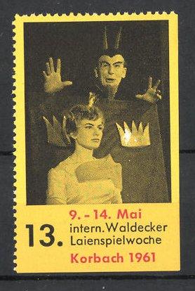 Reklamemarke Korbach, 13. Int. Waldecker Laienspielwoche 1961, Teufel während einer Bühnenszene