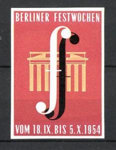 Reklamemarke Berlin, Berliner Festwochen 1954, Brandenburger Tor