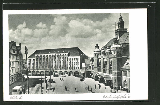 AK Lübeck, Blick auf den Bahnhofsplatz