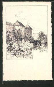 Künstler-AK Tübingen, Blick auf's Schloss