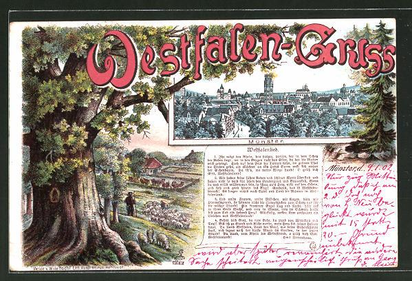 Passepartout-Lithographie Münster, Teilansicht der Stadt, Westfalenlied