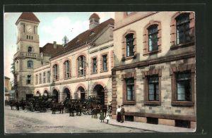 AK Chemnitz, Pferdewagen an der Hauptfeuerwache