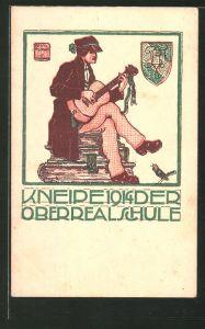 Künstler-AK München, Absolvia Kneipe der Oberrealschule 1914, Schüler mit Gitarre