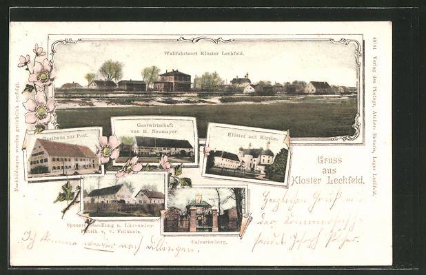 AK Klosterlechfeld, Gasthaus zur Post, Gastwirtschaft H. Neumayer, Kloster mit Kirche