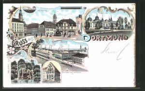 Lithographie Dortmund, Kronenburger Garten, Marktplatz, Bahnhof, Fredenbaum
