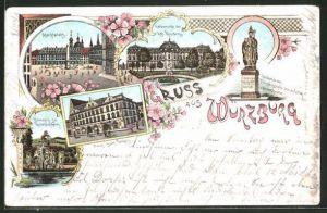 Lithographie Würzburg, Marktplatz, Haus zum Falken, Denkmal
