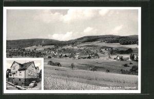 AK Langen-Brombach, Gasthaus zum Odenwald, Ortspanorama
