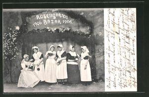 AK Duisburg, Rosengarten-Bazar 1906, Frauen in Tracht