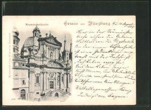 AK Würzburg, Gruss von der Neumünsterkirche
