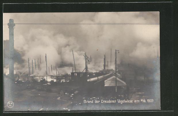 AK Dresden, Brand der Dresdener Vogelwiese 1909