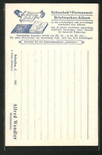 AK Alfred Wendler, Schaiba, Schaubek's Permanent-Briefmarken-Album